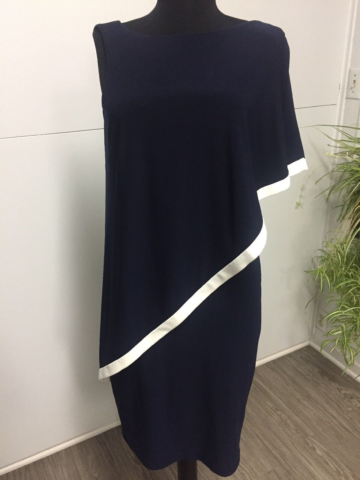 NWT  135 Ralph Ralph Ralph Lauren One Shoulder Dress Navy white Nautical Look Size 4 397193