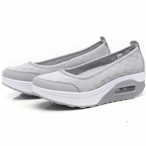 Womens Shape Ups Shoes Ladies Walking Sport Sneakers Lace UP Fitness Wedge Pumps
