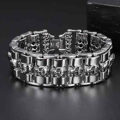 Edelstahl Armband Totenkopf Panzerarmband Bracelet Skull Biker Rocker 316L
