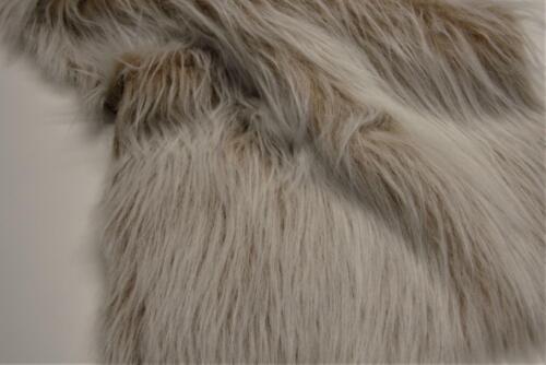 LONG Pile Fun Faux Fur Fabric Material CAMEL FROST