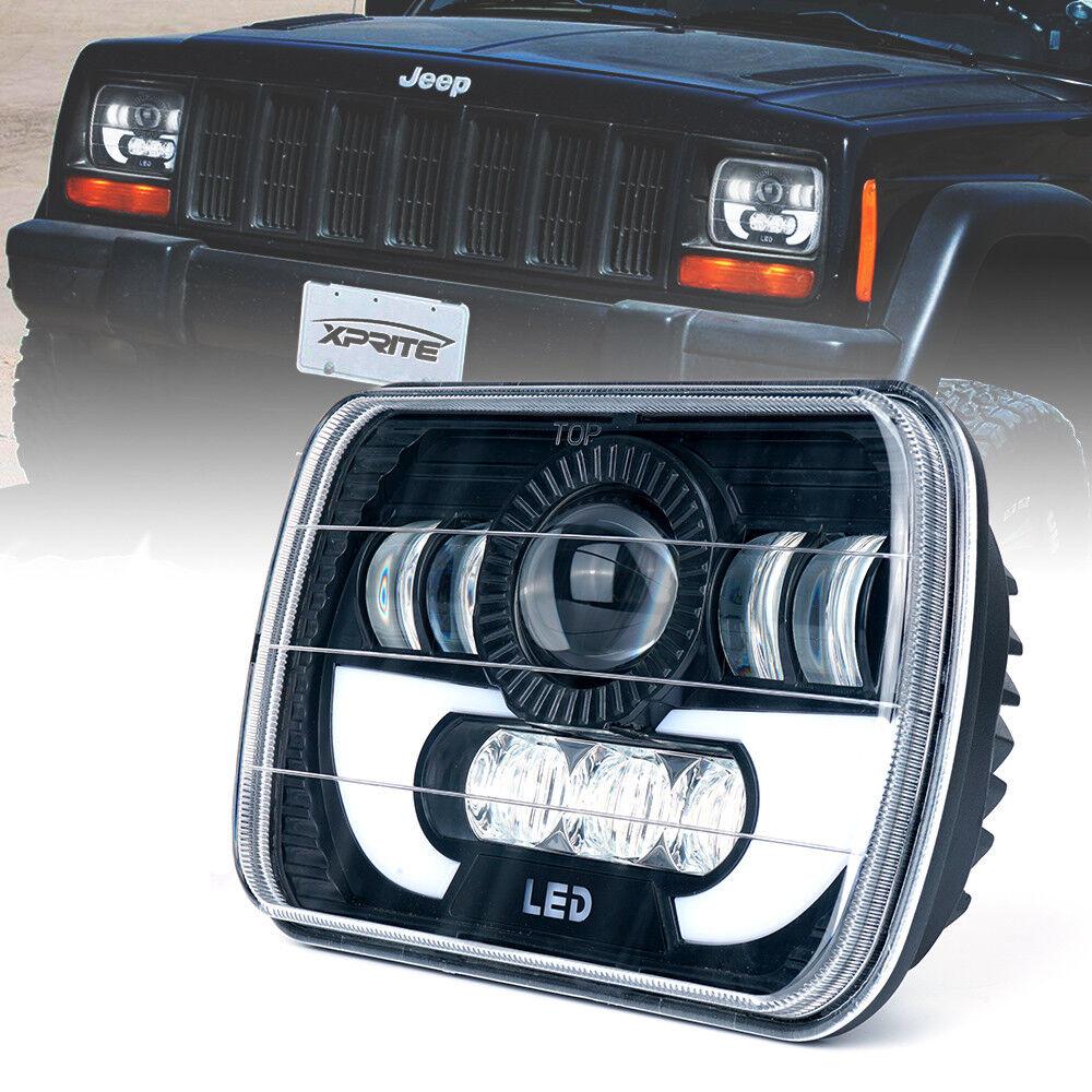 2x 60W 5X7 CREE LED Headlight High Low Beam for Jeep Wrangler YJ Cherokee