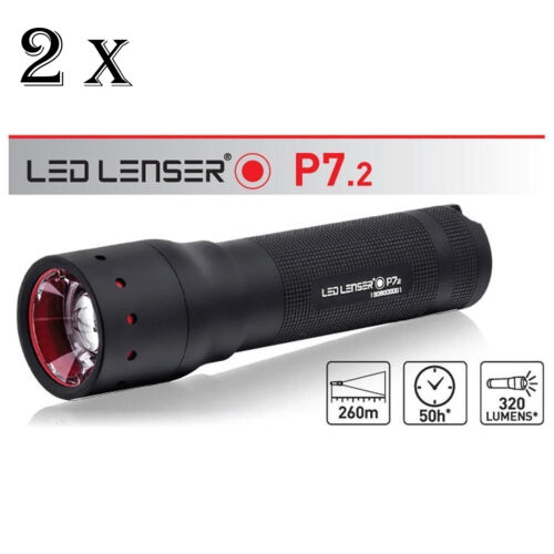 LED LENSER P7.2 TWIN PACK Torch Flashlight Retail Black Gift Box