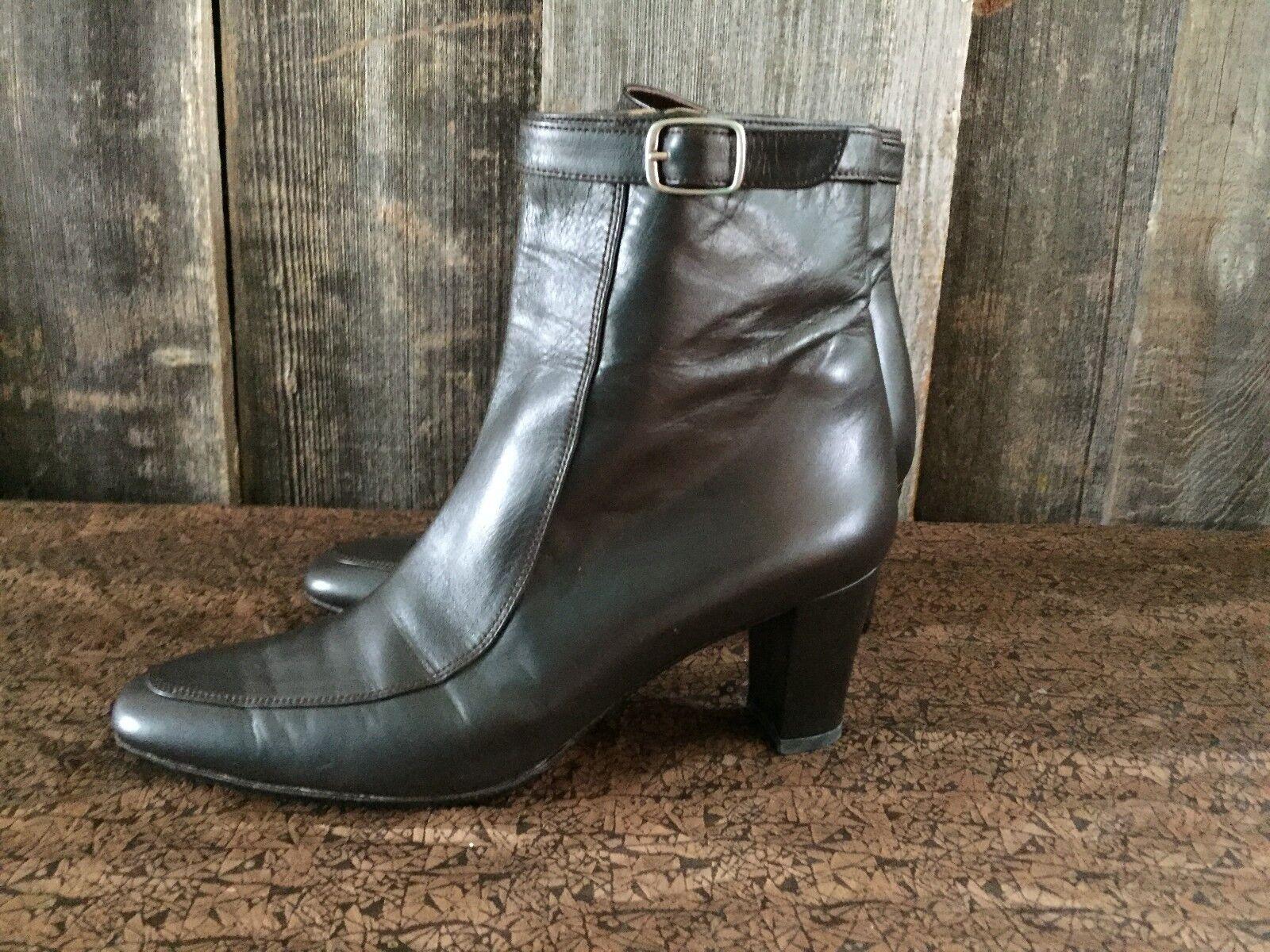 Stephane Kelian Women's Shoes Size 35 Brown Side Zip Leather Ankle Boots Buckle