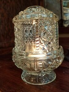 Fairy-Lamp-Light-Vintage-Indiana-Glass-Clear-Stars-and-Bars-2-Piece-6-1-2-034