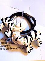 Gymboree Vintage Mod Zebra Hair Black White Ponytail Holder Set / 2 On Card