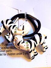 GYMBOREE Vintage MOD ZEBRA Hair Black White Ponytail Holder Set / 2 NEW On Card!
