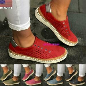 Womens-Denim-Canvas-Loafers-Pumps-Casual-Slip-On-Flat-Trainers-Sneakers-Shoes
