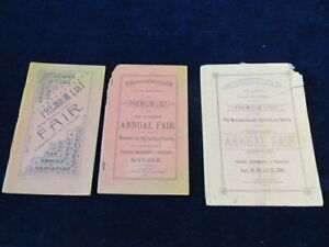 1890-1891-1894-Manistee-County-Fair-Michigan-Onekama-Premium-List-3pc-Lot-Q697