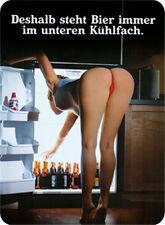 Deshalb steht Bier immer unten Blechschild 8x11 cm Blechkarte Sign PC-201/480