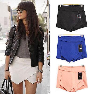 Femme élégante Enveloppez Mini Pantalon Shorts Jupes irrégulier laminé Wrap S 36