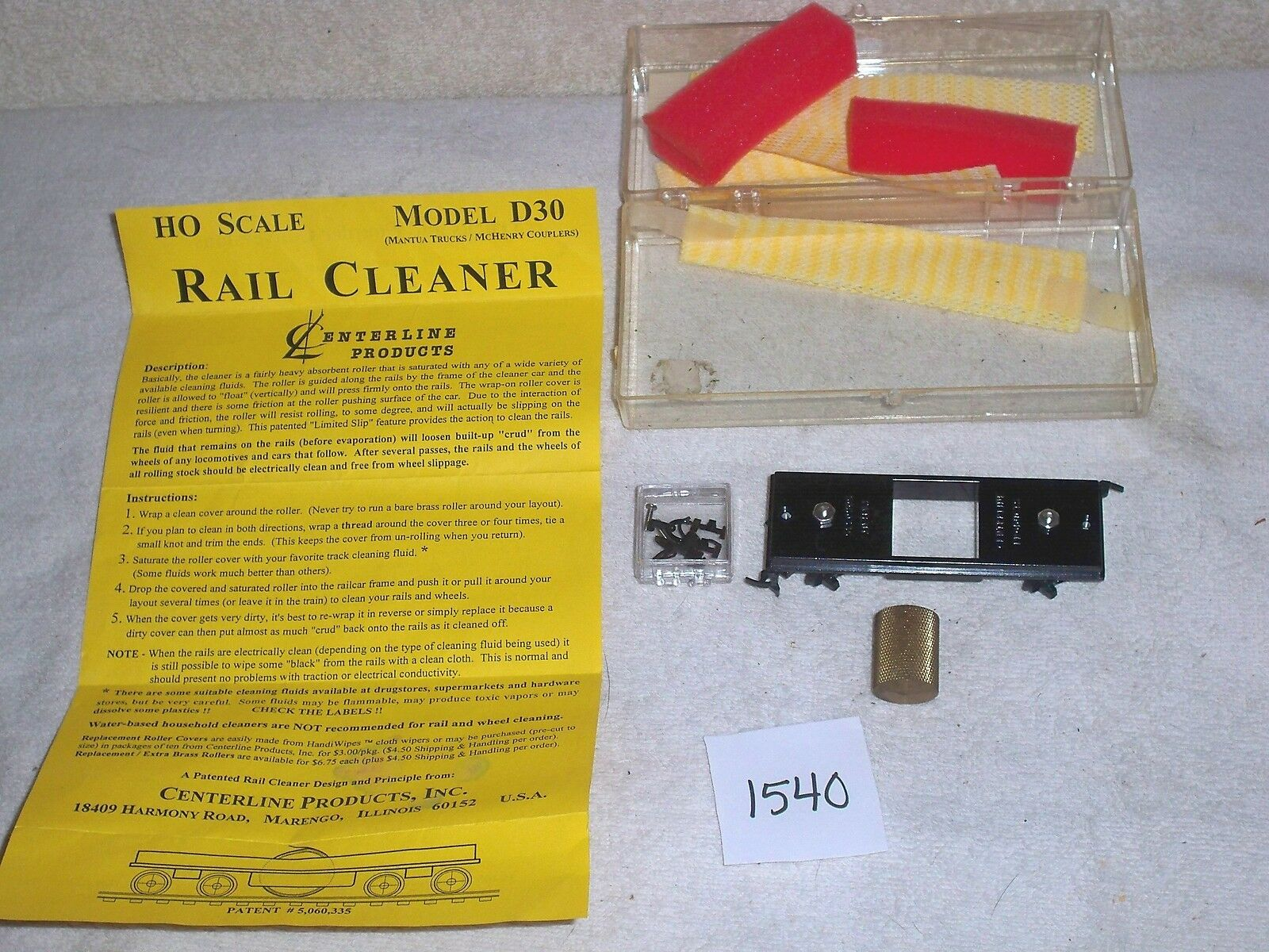 Centerline Products HO Scale Rail Cleaner Model D30