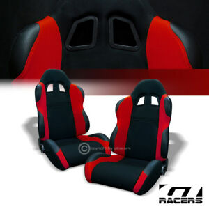 Image Is Loading 2x Universal Ts Blk Red Cloth Leather Reclinable