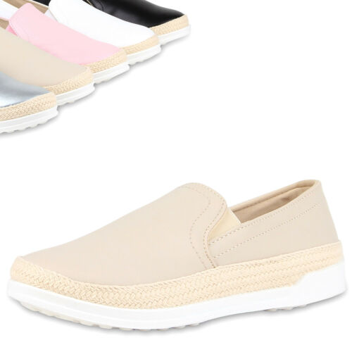 Damen Bast Slip-ons Viele Farben /& Größen Slipper Sneakers 810625 Top
