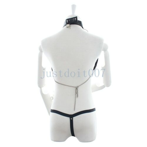 PU Leather Cupless Chain Bra+Thong Panty Set Roleplay Vest Body Harness Lingerie
