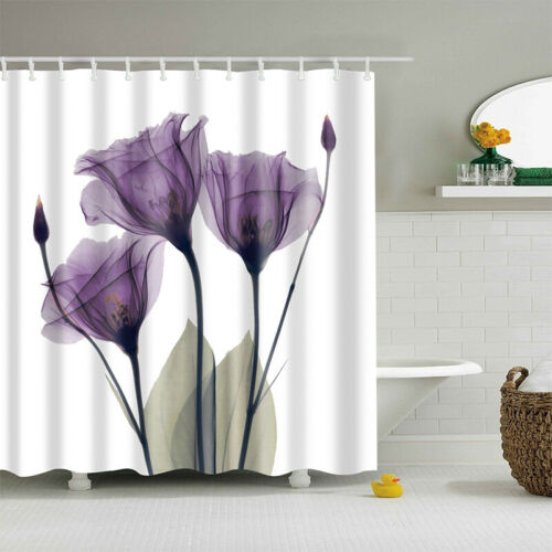 Modern Style Fabric Bathroom Washable Shower Curtain 12 Hook Ring Set Waterproof