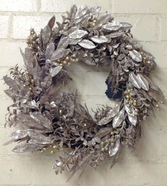 christmas outdoor decoration illuminated glittered bay leaf 24 wreath