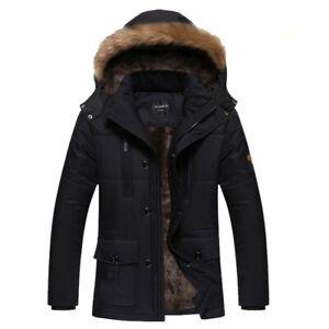 Winter-Mens-Long-Down-Padded-Coat-Fur-Collar-Parka-Outwear-Hooded-Jacket-Plus-Sz