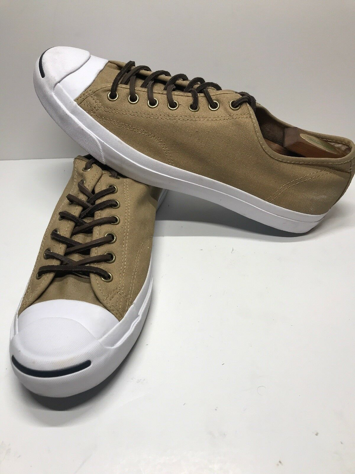 Converse Jack Purcell Signature Tan Lace Up shoes Sneakers Casual Sz12