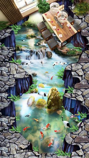 3D Fluss Goldfisch Fototapeten Wandbild Fototapete Tapete Familie DE Lemon