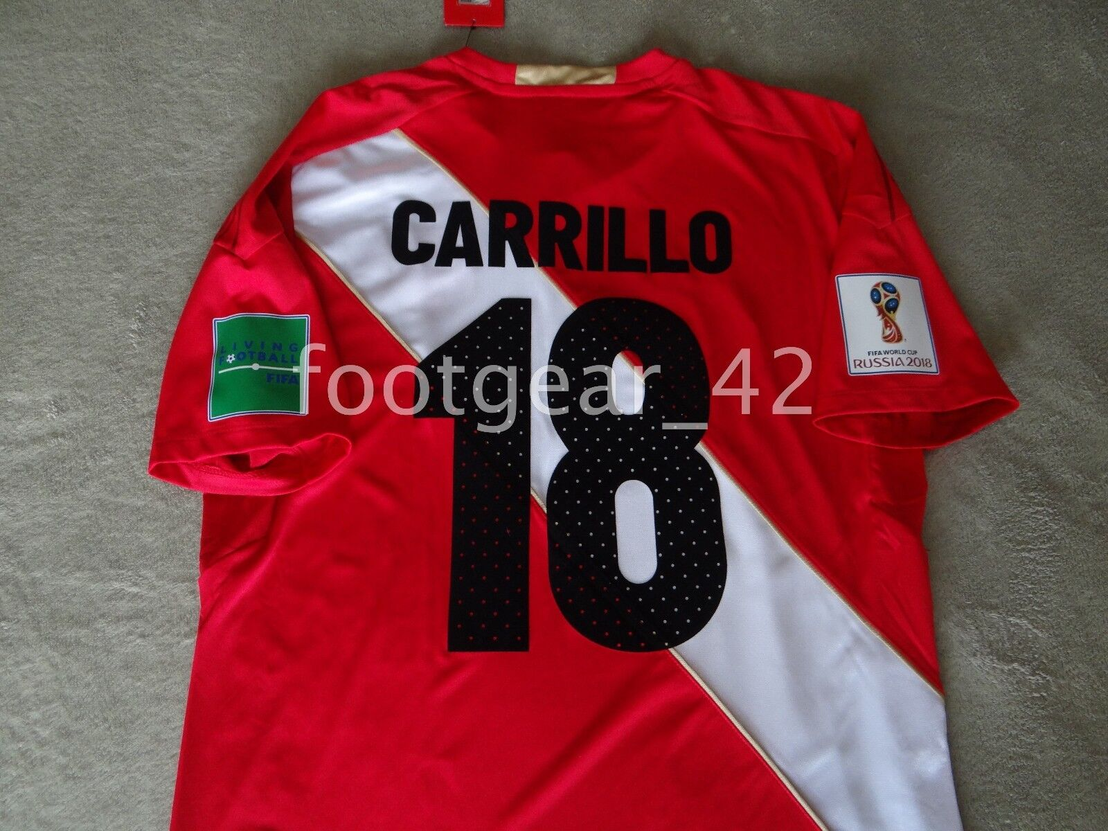 Nuevo Umbro Perú oficial Andre Carrillo Auténtico Camisa Jersey Rusia WC 2018 M L