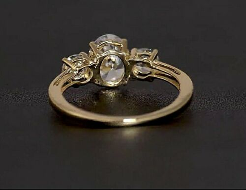 Details about  /9ct yellow gold oval cut three stone created diamond ring free postage gift box
