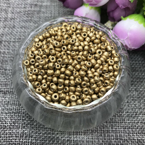 Wholesale NEW 2MM 1000pcs Glass With Seed Spacer beads Jewelry Fitting gold