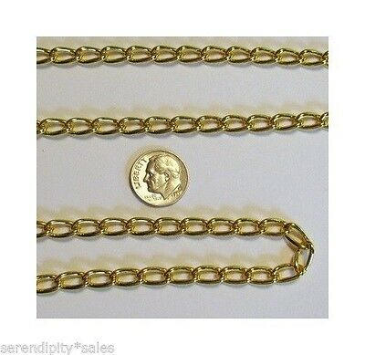 7 feet 11mm x 6mm Gold Plated Cable Chain ~   Twisted Link ~ Bulk Footage