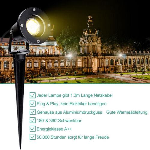 2X LED Gartenstrahler 4W Wasserdicht Aussen GU10 Rasen Spotbeleuchtung