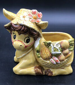 Relpo Donkey Planter Vintage Mid Century Japan 6431 Yellow Floral