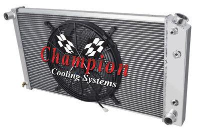 1977-1992 Cadillac Fleetwood//Brougham Aluminum 3 Row Champion Radiator /& Fans