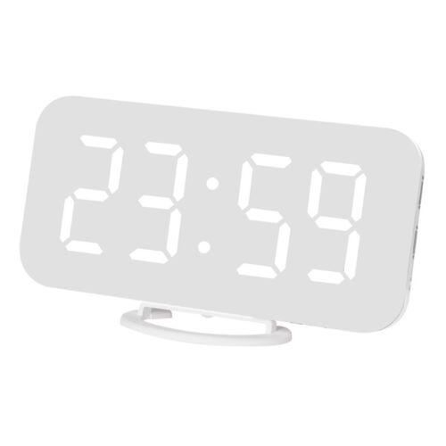 USB Aufladen Digital LED Display Snooze Spiegel Wecker Uhr Alarmwecker