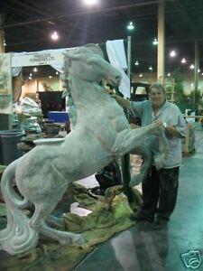 Image Is Loading 8 FT Outdoor Fiberglass REARING HORSE Garden Statue