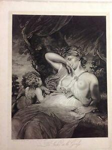 ANGEL , WOMAN ,Snake. aquatint original 1836 REYNOLDS