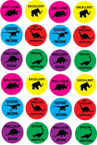 Récompense dinosaure thème enfants feuille autocollant x 24 par feuille