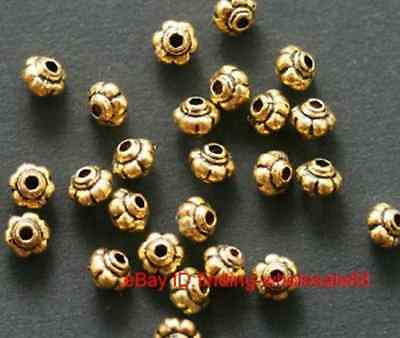 New 50Pcs Antique Golden Lantern Shaped Zinc Alloy Spacer Beads 5x4mm For Craft