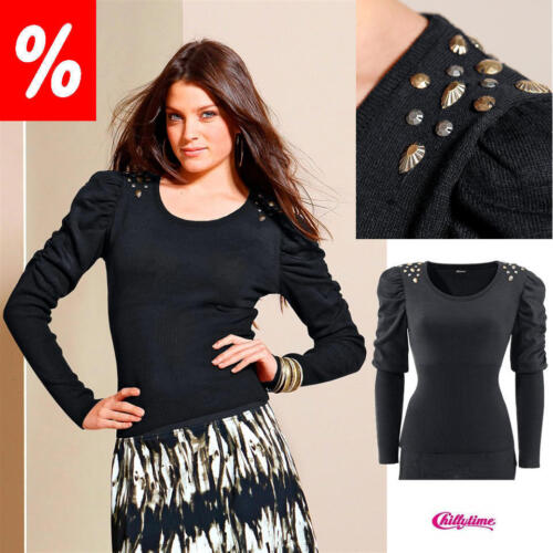 CHILLYTIME Schwarz NEU!! Pullover Schmucksteine KP 28,99 € SALE /%/%/%
