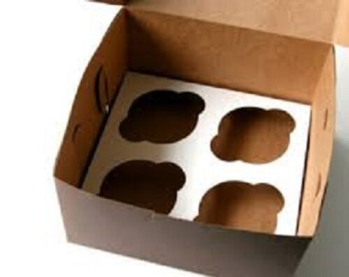 10 Cupcake Box holds 4 each WHITE 8x8x4 Bakery//Cake Box and Inserts for 40