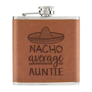 Nacho-Moyenne-Auntie-170ml-Cuir-PU-Hip-Flasque-Fauve-Worlds-Best-Awesome-Drole