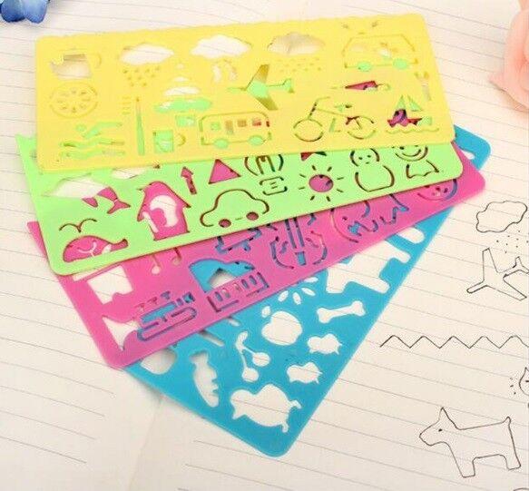 4 Pcs Multi-Purpose Plastic Painting Template Ruler Kids Paint Drawing Stencils