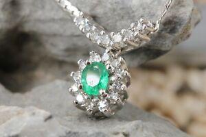 Smaragd Diamant Gold 585 Collier Weißgold 19 Diamanten ca 0,38ct Smaragd 0,25ct