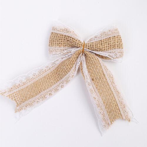 Bowknot Hessian Handmade Jute Bows Burlap Lace Ribbon Wedding Rustic Decor Craft