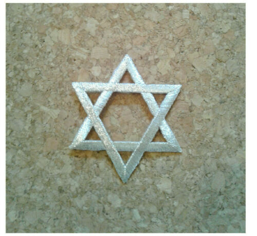 """Embroidered Metallic Silver Iron On Patch Crafts Star Of David Jewish 2/"""""""