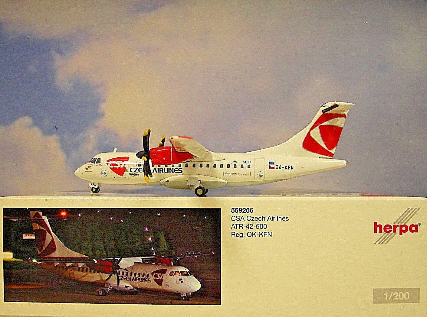 Herpa Wings 1 200 Atr- 42-500 Csa Czech Airline Ok-Kfn 559256