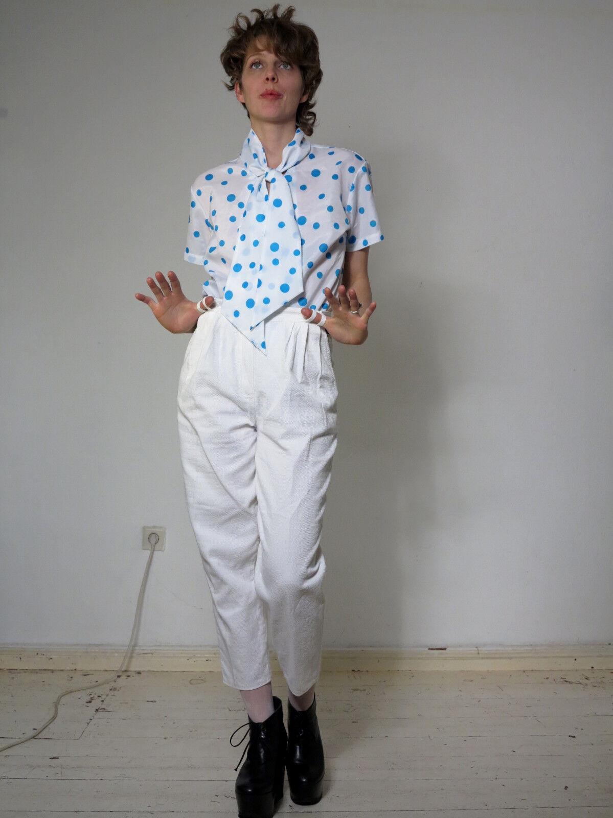 Schluppenbluese bluese white transparent Punkte 60er TRUE VINTAGE 60s women blouse