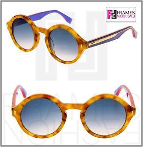 67605dd5cfb6 FENDI COLOR BLOCK FF0153S Light Havana Lilac Round Sunglasses 0153 ...