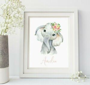 Vivero De Elefante Rosa Floral Personalizado Nombre Rosa Floral Print 629-A de arte