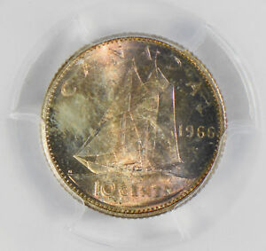 Canada-1966-10-Cents-silver-PCGS-MS65-stunning-blue-golden-toning-PC0302-combine