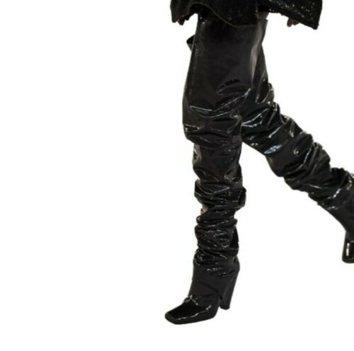 Occident Women Over The Knee High Boots Square Toe Pleated Pattern Club Shoes Sz