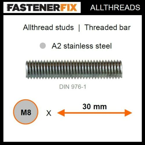 threaded bar to DIN 976-1 M8 x 30 mm allthread A2 stainless studs 100 pack