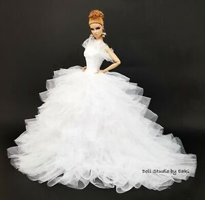 Handmade White Coat Outfit Gown Evening Dress For Silkstone Fashion Royalty FR